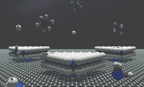 artist's rendering showing a boron nitride surface with tungsten atoms anchoring triangular domains